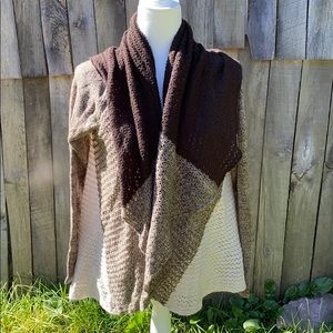 Carolyn Taylor Open Front Sweater Cardigan Brown